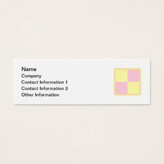 Battenburg Cake. Pink and Yellow. Mini Business Card