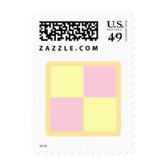 Battenburg Cake. Pink and Yellow. Postage Stamp
