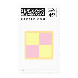 Battenburg Cake. Pink and Yellow. Postage Stamps
