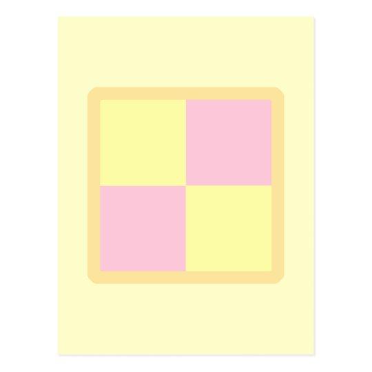 Battenburg Cake. Pink and Yellow. Postcard