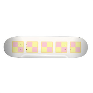Battenburg Cake. Pink and Yellow. Custom Skateboard