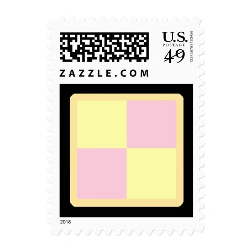 Battenburg Cake. Pink and Yellow. Stamps