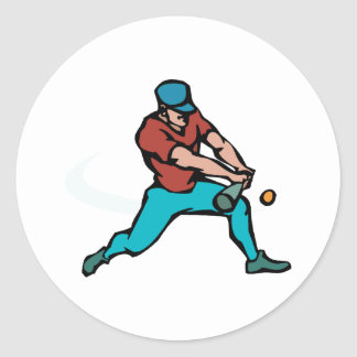 Batter hitting ball classic round sticker