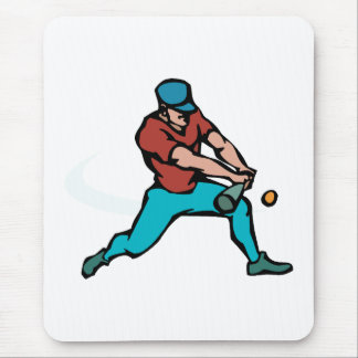 Batter hitting ball mouse pad