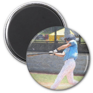 batter up 2 inch round magnet