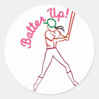 Batter Up Classic Round Sticker