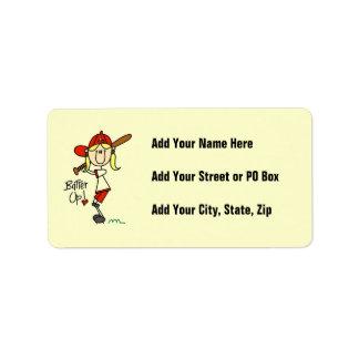 Batter Up Girls Baseball T-shirts and Gifts Address Label
