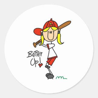 Batter Up! Softball Stick Figure Sticker