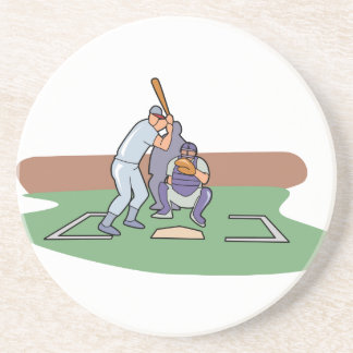 batter up waiting for pitch baseball design drink coaster