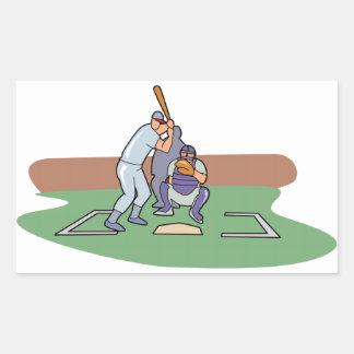batter up waiting for pitch baseball design rectangular sticker