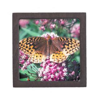 Batterfly y flores de color de malva caja de recuerdo de calidad