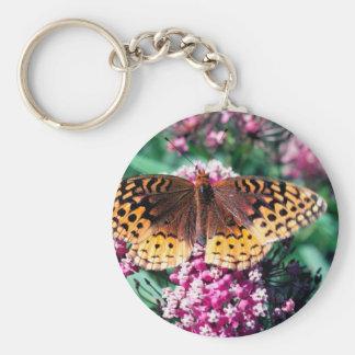 Batterfly y flores de color de malva llavero personalizado