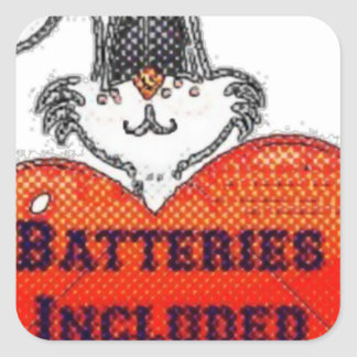 batteries included square sticker