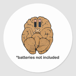 Batteries Not Included BRAIN Classic Round Sticker