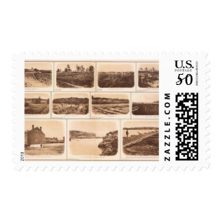 Batteries, redoubts, building, canal, bridge postage
