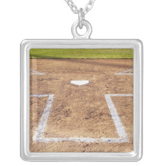 Batter's box silver plated necklace