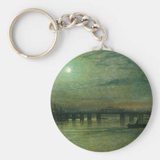 Battersea Bridge by John Atkinson Grimshaw Basic Round Button Keychain
