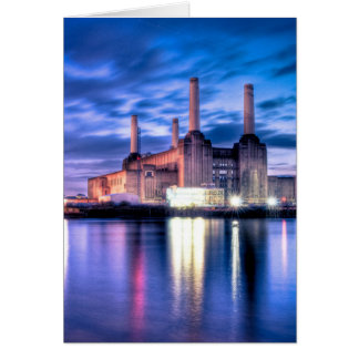 Battersea Power Station at night Card