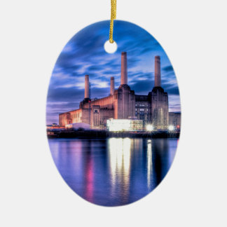 Battersea Power Station at night Ceramic Ornament