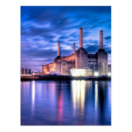 Battersea Power Station at night Post Cards