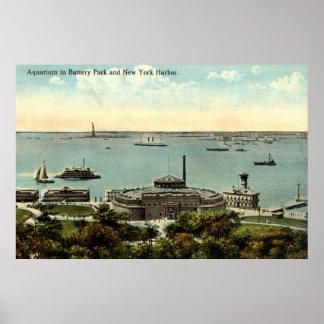Battery Park Aquarium NY 1920 Vintage Poster