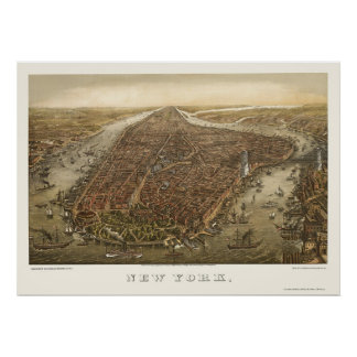 Battery Park, NY Panoramic Map - 1873 Poster