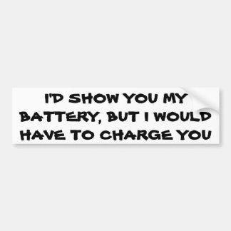 Battery pun car bumper sticker