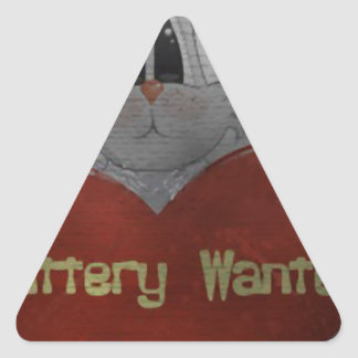 battery wanted triangle sticker
