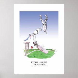 batting collapse, tony fernandes cartoon poster