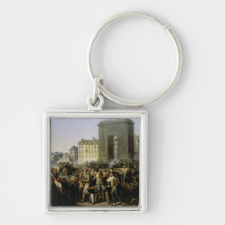 Battle at the Porte Saint-Denis, 28th July 1830 Silver-Colored Square Keychain