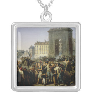 Battle at the Porte Saint-Denis, 28th July 1830 Silver Plated Necklace