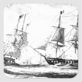 Battle betweeen U.S. frigate Constellation and Fre Square Sticker