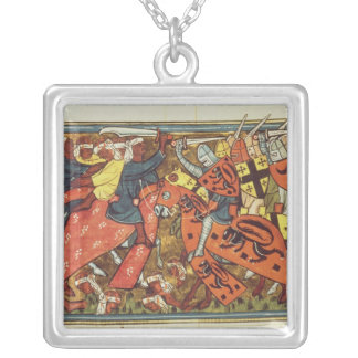 Battle between Crusaders and Moslems Square Pendant Necklace