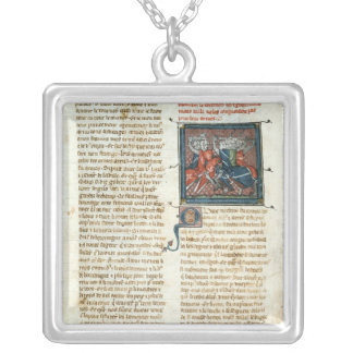 Battle between knights, from 'Roman d'Artus' Silver Plated Necklace