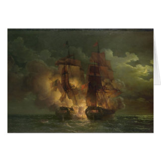 Battle Between the French Frigate 'Arethuse' Greeting Card