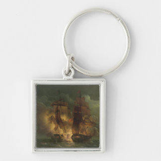 Battle Between the French Frigate 'Arethuse' Silver-Colored Square Keychain