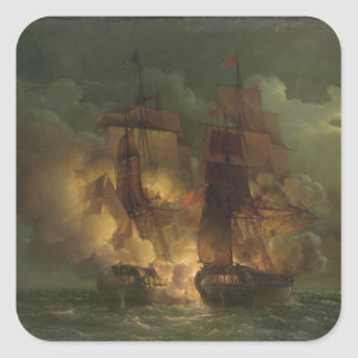 Battle Between the French Frigate 'Arethuse' Square Sticker