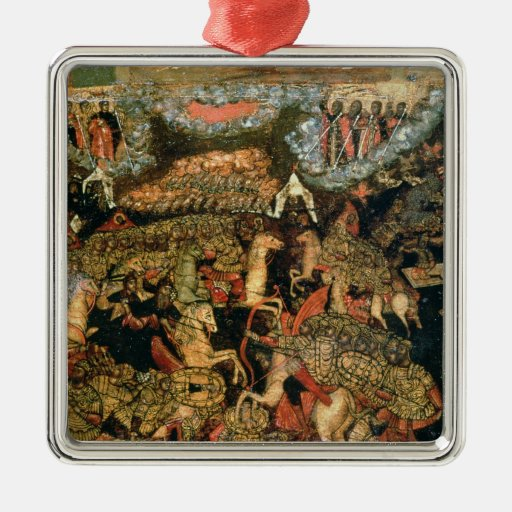 Battle between the Russian and Tatar troops Square Metal Christmas Ornament