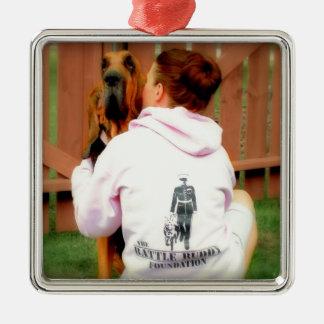 Battle Buddy  and PTSD Awareness Square Metal Christmas Ornament