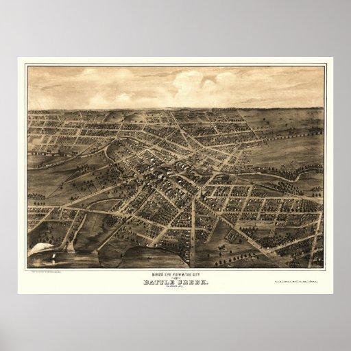 Battle Creek, MI Panoramic Map - 1870 Poster