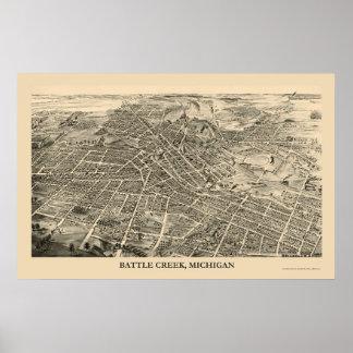 Battle Creek, MI Panoramic Map - 1880s Poster