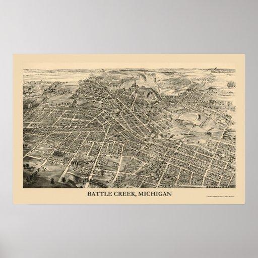 Battle Creek, MI Panoramic Map - 1880s Print