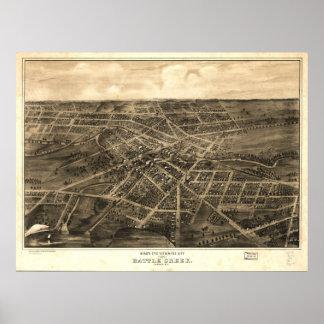 Battle Creek Michigan 1870 Antique Panoramic Map Poster