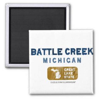 Battle Creek Michigan Great Lake State 2 Inch Square Magnet