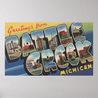 Battle Creek, Michigan - Large Letter Scenes Poster