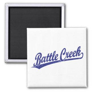 Battle Creek script logo in blue 2 Inch Square Magnet