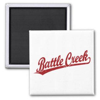 Battle Creek script logo in red 2 Inch Square Magnet