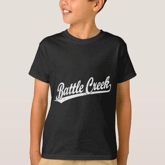 Battle Creek script logo in white T-Shirt