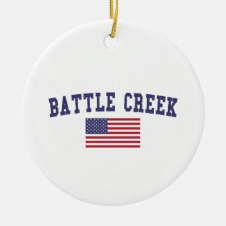 Battle Creek US Flag Ceramic Ornament
