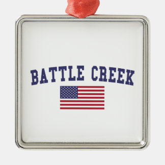 Battle Creek US Flag Metal Ornament